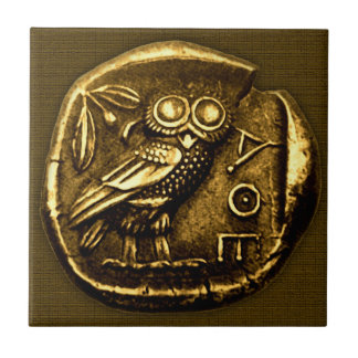 Owl on ancient greek coin small square tile