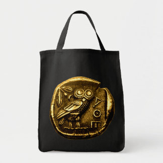 Owl on ancient greek coin tote bag