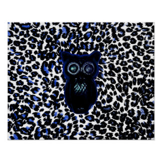 Owl On Black and Blue Leopard Spots Poster