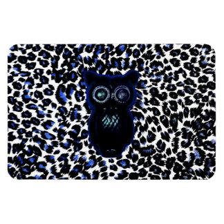 Owl On Black and Blue Leopard Spots Magnet