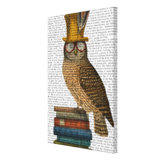Owl On Books Canvas Print