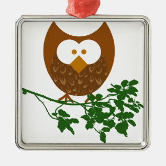 Owl on Branch #1 Christmas Ornament