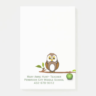 Owl on Branch Custom Teacher's Note Pad