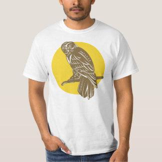 Owl on Branch Retro T-Shirt