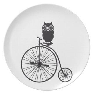 owl on old vintage bicycle dinner plate
