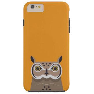 Owl on orange background tough iPhone 6 plus case