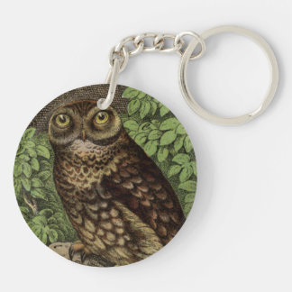 Owl on Perch Double-Sided Round Acrylic Key Ring