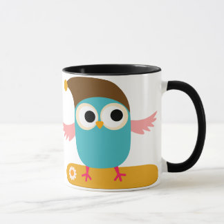 Owl on Snowboard, Sports Mug