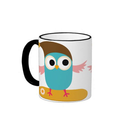 Owl on Snowboard, Sports Coffee Mug
