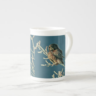 Owl On Snowy Branches Painting Tea Cup