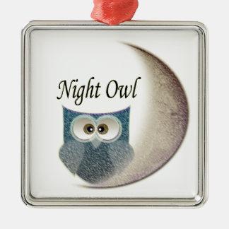 Owl on the Moon Art Christmas Ornament