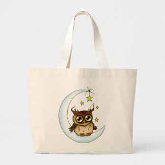 Owl on the Moon Large Tote Bag