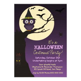 Owl on tree branch Halloween Birthday Party Invitation