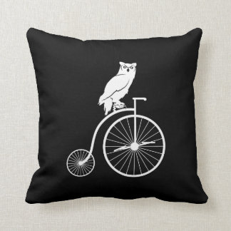 Owl on Vintage Bike Silhouette Throw Cushions