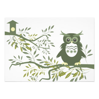 Owl Owl Sitting On Tree Branch Personalized Invite