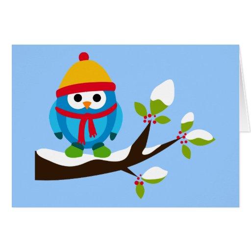Owl Owls Bird Birds Blue Hat Scarf Snow Cute Tree Greeting Card