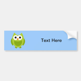 Owl Owls Bird Birds Green Cute Cartoon Animal Bumper Sticker
