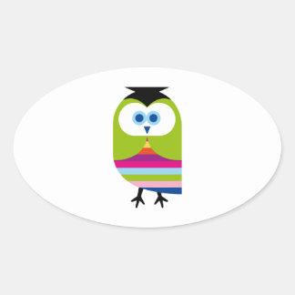 Owl Owls Bird Cute Colorful Cartoon Animal Oval Sticker