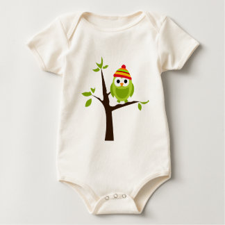Owl Owls Bird Green Hat Snow Cute Tree Cartoon Baby Bodysuit