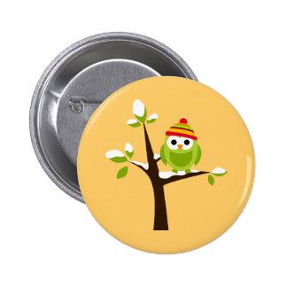 Owl Owls Bird Green Hat Snow Cute Tree Cartoon 6 Cm Round Badge