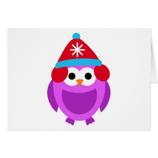 Owl Owls Bird Purple Winter Red Hat Cute Cartoon Greeting Card