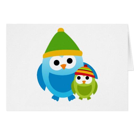 Owl Owls Birds Mom Baby Snow Winter Cute Cartoon Cards
