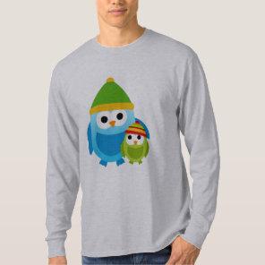 Owl Owls Birds Mum Baby Snow Winter Cute Cartoon T-Shirt