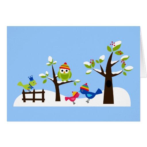 Owl Owls Birds Winter Snow Cute Tree Cartoon Greeting Card