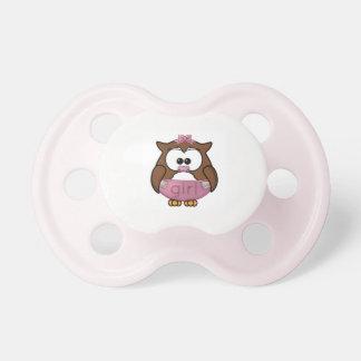 owl pacifier baby girl