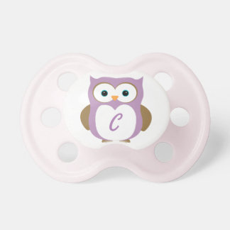 Owl pacifier with initial