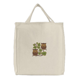 Owl Pair Embroidered Bag