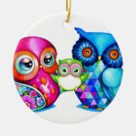 Owl Parents and Baby Christmas Ornaments