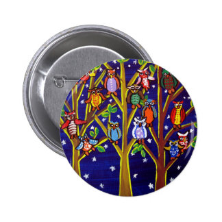 Owl Party Whimsical Folk Art 6 Cm Round Badge