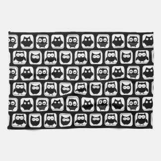 Owl Pattern in Black and White Tea Towel
