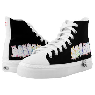 Owl Pattern in Watercolor High Tops
