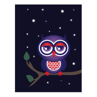 Owl perched on a branch postcard