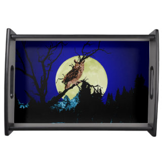 Owl Perched On Branch In Moonlit Forest Serving Tray