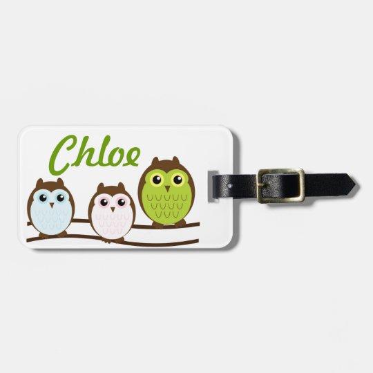 Owl Personalise Monogram Kids Teen Luggage Tag