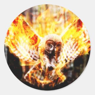 Owl Phoenix Classic Round Sticker