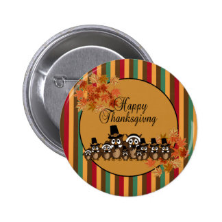 Owl Pilgrim Family Thanksgiving 6 Cm Round Badge