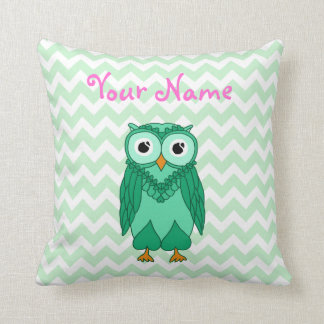 Owl Pillow: Green Custom Cushion
