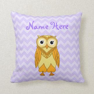 Owl Pillow: Yellow Purple Custom Cushions