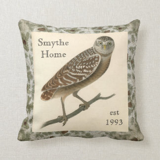 Owl Pine Cones Boughs Trees Throw Pillow
