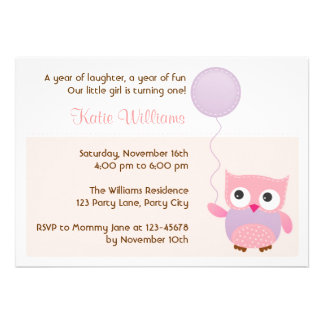 Owl Pink Birthday Party Invitation for Girls