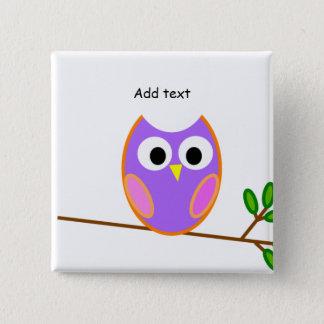 Owl: Pink & Purple Owl 15 Cm Square Badge