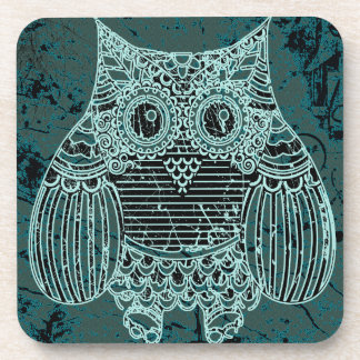 Owl  Plastic coasters with cork back - set of 6