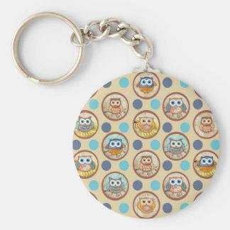 Owl Polka Dots Print Basic Round Button Key Ring