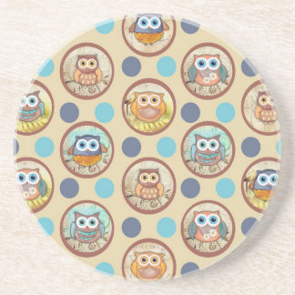Owl Polka Dots Print Coaster