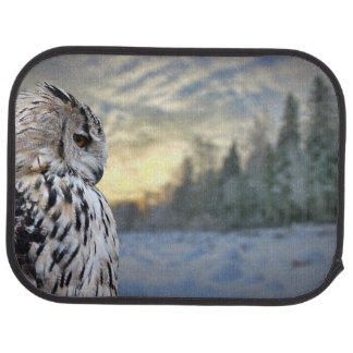 Owl portrait on winter forest background car mat