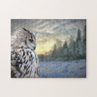Owl portrait on winter forest background jigsaw puzzle